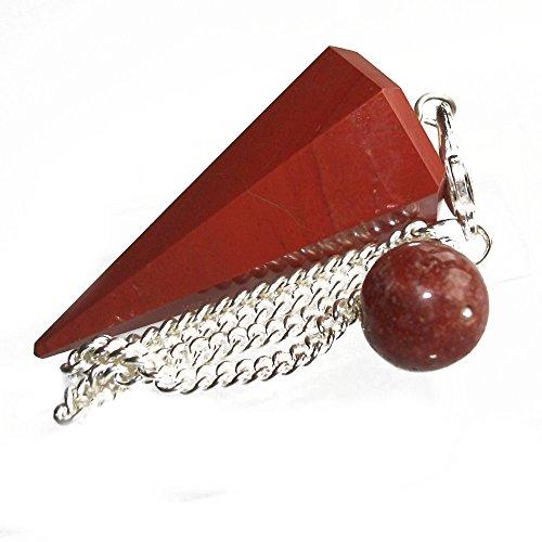 Piedra Preciosa Jaspe Rojo Punto Adivinación Curativo Péndulo Radies
