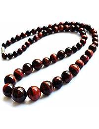 Collare perlas Joya piedra natural Ojo de tigre 6-14mm 46cm Mujer Rojo Micha