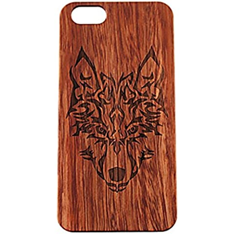 PTitanMantisP custodia Incisione laser di legno e plastica con testa di lupo stampa duro (iPhone 6S Plus iPhone 6S iPhone 6 Plus iPhone 6 iPhone SE iPhone 5/5S )(iPhone 6 Plus/5.5,Marrone)