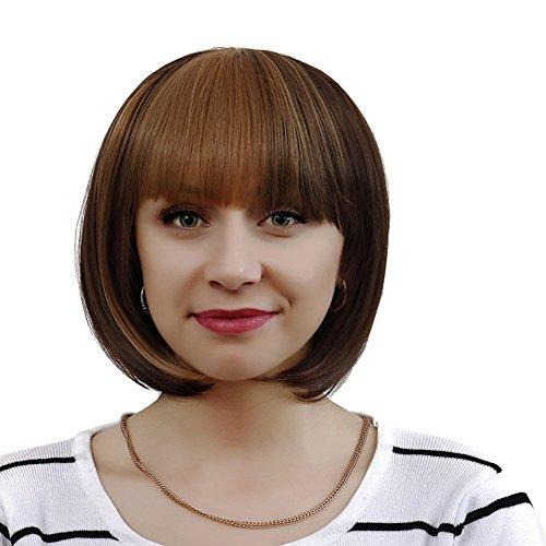 Hrph Mode Bob Perruque Femme Courte Tout Droit 32cm avec Frange Cosplay Party Cheveux Perruque Résistante au Lavage à Haute Température