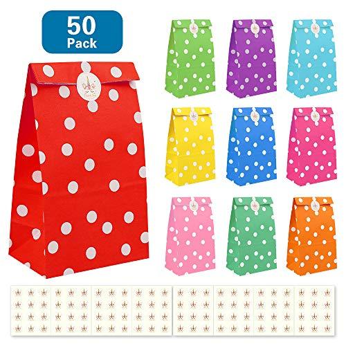 Nasharia 50 Papier Candy Tüten Partytüten Set, Bunt Geschenktüten mit 84 Stickern zum Geburtstag Klein Candy Tüten, Ideal für Geburtstagsfeier Babyparty Hochzeit Geschenk Papiertasche, Deko Taschen