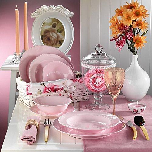 Kütahya Porselen Porzellan 24 teilig Bergama 6 Pers. Ess-Service Tafelservice Dinner Set Luxus Pink Rose Verlobung Feier Hochzeit