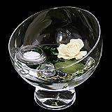 Runde Glas-Schale Nantes Höhe 19cm ø 19cm. Abgeschrägte Dekoschale mit Dekorations Set Rose creme-weiß Dekoglas Glasgefäß ausgefallene Deko für Ihre Deko Ideen. Glasdeko von Glaskönig