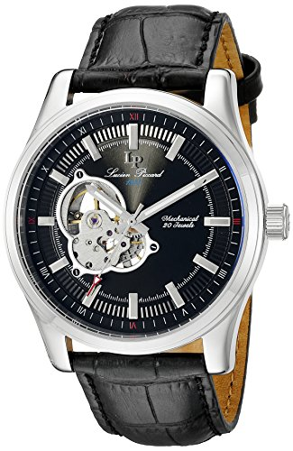 Lucien Piccard men's Mechanical Watch with Black Dial Analogue Display and Black Leather Strap LP-40006M-01