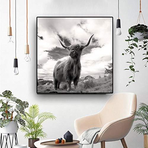 Cyalla Kuh Schwarz Und Weiß Leinwand Kunst Poster Und Drucke Leinwand Gemälde Nordic Dekoration Wandkunst Bild Für Wohnzimmer 70X70Cm (Halloween-nagel-kunst Weiß Schwarz Und)