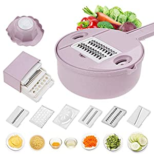 Jeslon Vegetable Mandoline Schneidemaschine - 10 in 1 Gemüsespiralizer Cutter und Shredder - Küche Mehrzweck-Julienne-Reibe mit Schutz und Eiweiß-Separator - Low Carb-Mahlzeiten