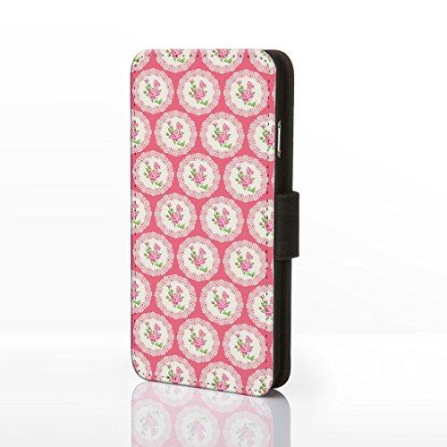 Schutzhülle Vintage-Design florales Muster Kunstleder-Klapphülle für iPhone-Modelle. Shabby-Chic-Designs von icasedesigner, Kunstleder, Design 8: Pink Roses on Light Blue Polka Dots, iPhone 6 Plus / 6 Design 9: Pink Roses on Pink Lace Circles