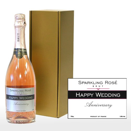 Personalised 'Happy Wedding Anniversary' 750ml Sparkling Rose in a Gift Box - Gift Ideas for Couples, Wedding, Anniversary, Him and Her