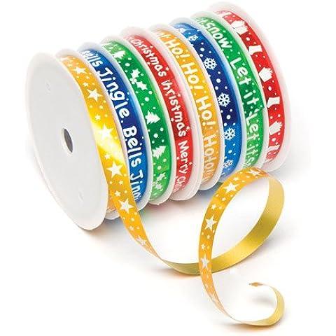 Rotoli di nastri natalizi in 8 motivi assortiti, ideali per realizzare creazioni, lavoretti artistici, decorazioni e per impacchettare regali di Natale (confezione da 2)