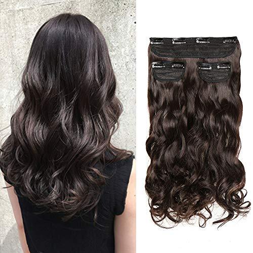 Extension capelli clip mossi sintetici lunghi 50cm 3 ciocche 8 clips in hair extension da donna 190g - castano scuro