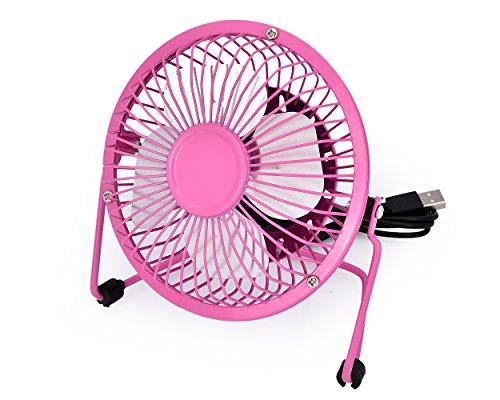 DSstyles Schreibtisch Fan 4 Zoll Mini USB Fan Tragbar Kühltisch Fan für Büro Zuhause - Rosa