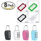 VMINE 4 pezzi lucchetto a combinazione di sicurezza,lucchetto con 4 cifre combinazione + 4 pezzi etichette per bagaglio targhetta per valigia accessori per zaini da viaggio per valigia, bagagli, valig