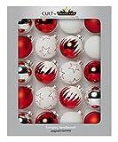 Krebs & Sohn 20er Set Glaskugeln - Be HAPPY Weihnachtsbaumschmuck - Christbaumkugeln - Rot, Weiß, Silber