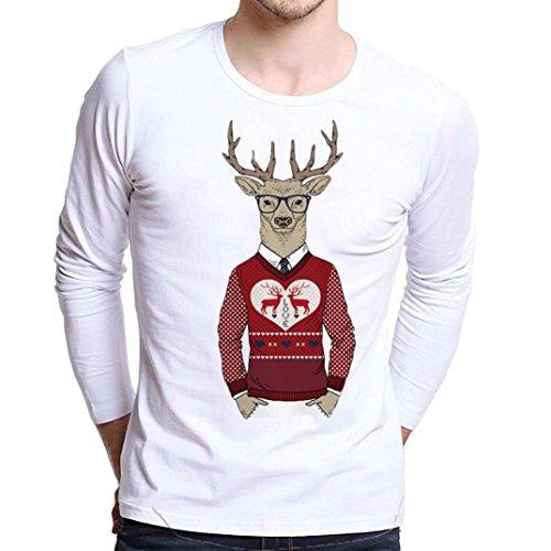 *Weihnachten Langarm Tops Shirt Herren Langarmshirt Weihnachtspullover Sweatshirts LMMVP (XXXXL, Red)*