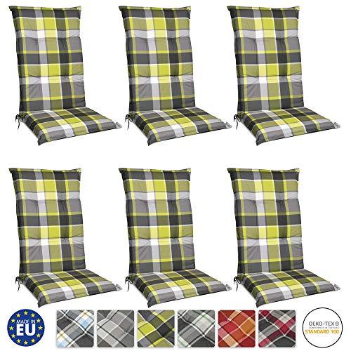 Beautissu Set de 6 Cojines para sillas de Exterior y jardín con Respaldo Alto Sunny GR Verde 120x50x6...