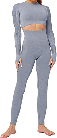 Push up Leggings Sportbekleidung Set Yoga Outfit Freizeitanzug Heflashor Damen Sportanzug Trainingsanzug Jogginganzug 2 Teilig Bauchfrei Langarmshirt