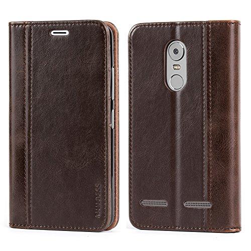 Mulbess Leder Tasche im BookStyle und 3 Kartenfach für Lenovo K6 Hülle Flip Case Cover,Schokolade Braun (Schokolade Leder Tasche)