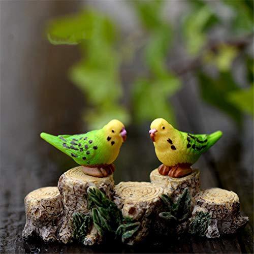 r-Dekofiguren für Feengarten, 1 Paar süße Harz-Papageien für DIY Miniatur-Garten, Terrarium, Puppenhaus, Heimdekoration ()