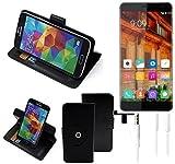 K-S-Trade Top Set für Elephone S3 Lite 360° Schutz Hülle Smartphone Tasche Wallet Case Flipcase Flipstyle Cover Handy Tasche Schutzhülle schwarz für Elephone S3 Lite + Kopfhörer