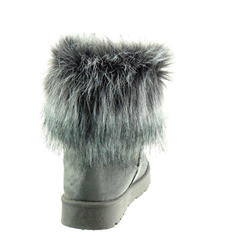 Angkorly - Scarpe da Moda Stivaletti - Scarponcini stivali da neve donna pelliccia Tacco a blocco 3 CM - soletta Foderato di Pelliccia Grigio