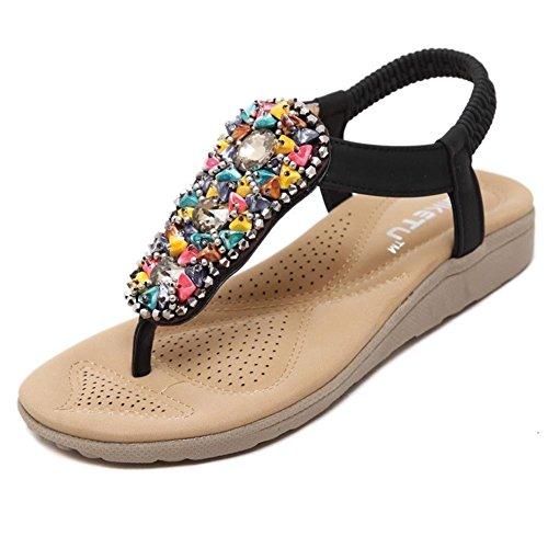 Minetom Femmes Filles Des Bohême Sandales Faux Diamant Peep Toe Été Tongs Flip Flops Chaussure Plage Voyage Vacances