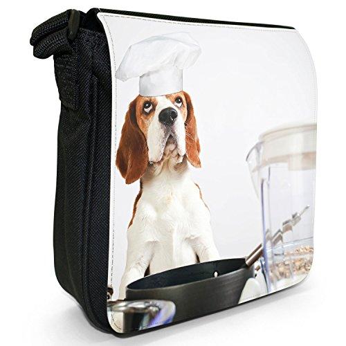 Beagle Dog-Borsa a spalla piccola di tela, colore: nero, taglia: S Nero (Chef Beagle Dog - Funny)