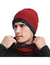 SWISSWELL Berretto Uomo per Inverno Caldo Berretto Uomo in Maglia con  Sciarpa Cappello Beanie Uomo e d87dea39013a