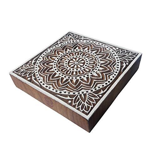 Royal Kraft 6 Inch Indisch Holz Blöcke Groß Blume Quadrat Entwürfe Großer Drucken Stempel - Holz Ton Block