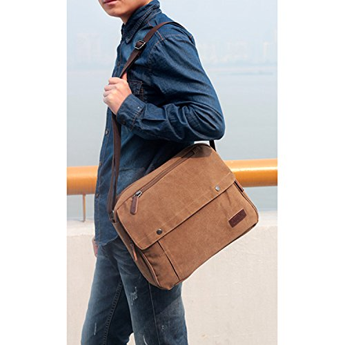 Outreo Umhängetasche Herren Schultertasche Herrentaschen Kuriertasche Vintage Canvas Messenger Taschen für Laptop Reisetasche Freizeit Freitag Retro Schule Blau