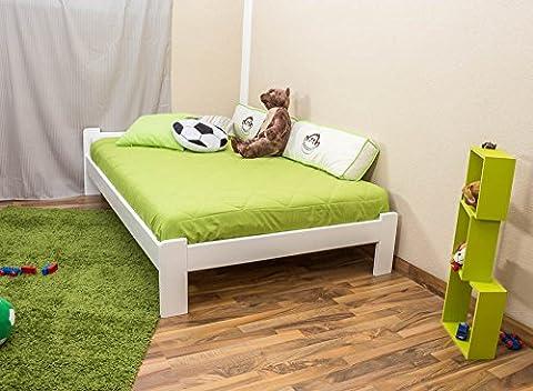 Lit futon bois du pin massif blanc A8, incl. sommier à lattes - Dimensions : 120 x 200 cm