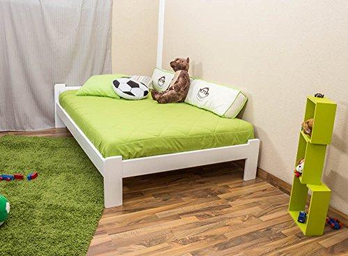 Futonbett / Massivholzbett Kiefer Vollholz massiv weiß lackiert A8, inkl. Lattenrost - Abmessungen: 120 x 200 cm