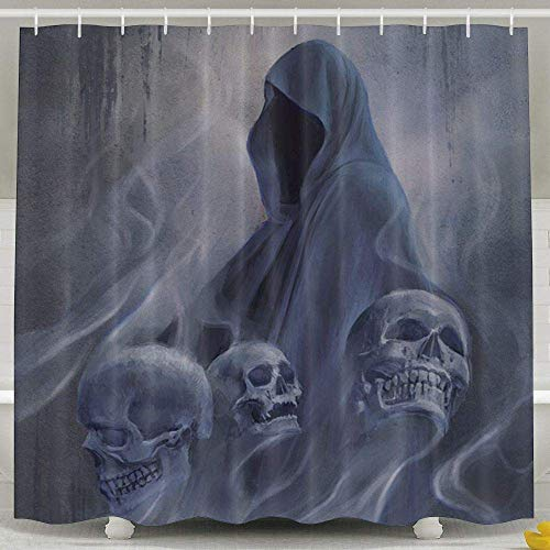 Eybfrre Duschvorhang Halloween Grim Reaper Skull Bath Curtain for Bathroom Waterproof Polyester Fabric Bathroom Accessories Set with Hooks-72 X 72 Inches 0J1033