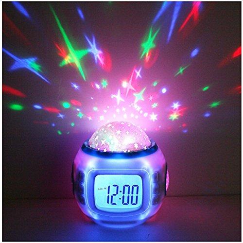 Sky Star Night Light Lámpara del Proyector Dormitorio Sleep Digital Reloj Despertador con Luz de Fondo de Música Calendario Termómetro Regalo de Cumpleaños para Infantiles Bebés Niños y Niñas