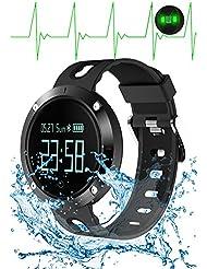 Pulsera de Fitness Tracker con monitor de frecuencia cardíaca Monitor de presión arterial Pulsera inteligente Reloj de actividad HR BP BT 4.0 OLED 0,95 pulgadas banda de pantalla táctil para el iPhone Teléfono inteligente Android (Negro)
