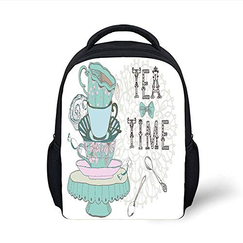 Kids School Backpack Kitchen Decor,Vintage Style Tea Time Party Print Home Cafe Design Floral Classic Cup Collection,White Turquoise Plain Bookbag Travel Daypack -