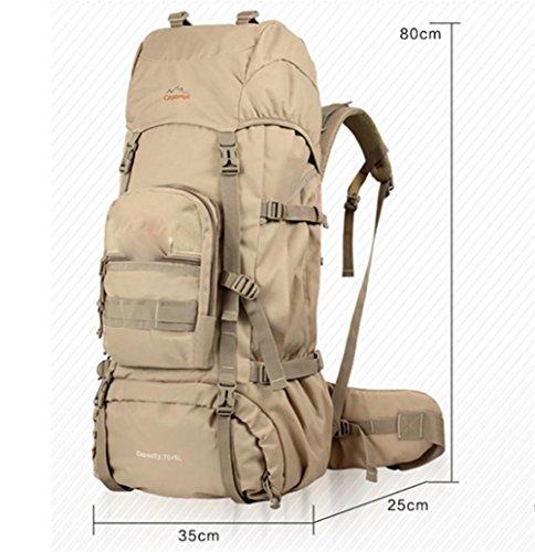 Crittografia Oxford panno Outdoor Campeggio 75L zaino escursionismo zaino borsa grande capacità , black Khaki