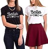 Sister Shirts Best Friends T-Shirts Für 2 Mädchen BFF Oberteile Beste Freunde Tops Damen Schwarz Weiß Baumwolle BFF Geschenk 2 Stücke (Schwarz+Weiß, Besties-2XL+Besties-S)