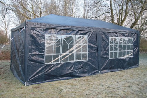 Airwave 3 x 6m Party Tent Gazebo Marquee with 2 x Unique WindBars and Side Panels 120g Waterproof Canopy, Navy Blue, 120g