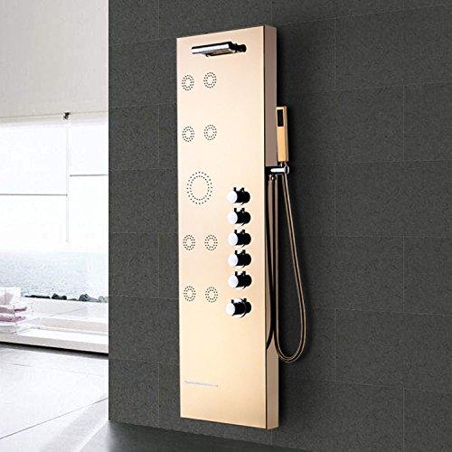 WEITING Gold 304 Edelstahl Multifunktions-Massage regen Dusche Sprayer Bildschirm / Dusche Bad mit Dusche / Badewanne Einzelgriff Dusche mit Massagedüsen Säule