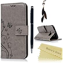 Funda para Samsung Galaxy S6,Libro Suave PU Leather Cuero impresión - Mavis's Diary Case Con Flip case cover,Cierre Magnético,Función de Soporte,Billetera con Tapa para Tarjetas-Diseño de Mariposa y flor de la vid,Color de Gris