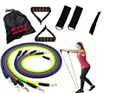 Your own personal home gym. This premium resistance band set includes a door anchor and two ankle straps to allow you to perform the widest variety of resistance training exercises possible. Perform full body workouts, strengthen your core, and isola...