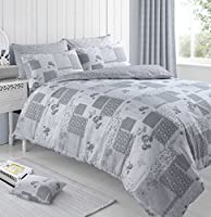 Velosso Grey Vintage Patchwork Bedding Duvet Cover Set with Pillowcase (s) Reversible Country Floral Print
