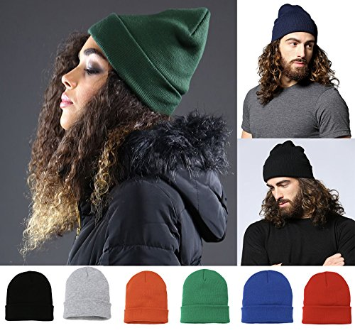 MYOG Personalised Prints MYOG Knitted Beanie Hat, Warm Winter Wooly Turn up, Unisex Mens Ladies Girls Ski Cap, 40 Colours, ONE Size