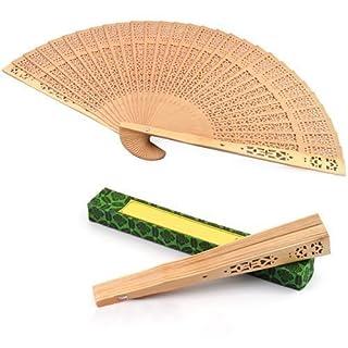 Accessotech Damen Duftend Sandalen Holz Handfächer Holz Parfümiert für Hochzeitsparty Geschenk Verpackt