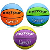 meteor® Layup Kinder Jugend Basketball Größe #3 ideal auf die Kinderhände von 4-8 Jährigen abgestimmt idealer Basketball für Ausbildung weicher Basketball mit griffiger Oberfläche (Blau & Grün - Größe #3)