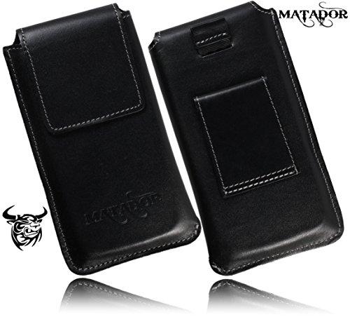 Slim Design Echt Ledertasche von Matador für BQ Aquaris X5 Cyanogen Edition Handytasche Vintage Style Hülle Schutz Etui Vertikaltasche mit verdecktem Magnetverschluß und Gürtelschlaufe (Side Black)