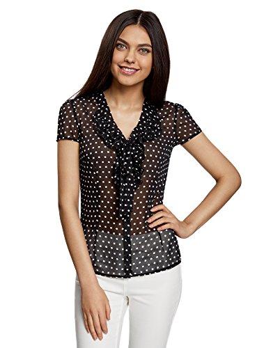oodji Collection Mujer Blusa Estampada con Volantes de Gasa, Negro, ES 36 / XS