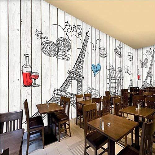 Worryd Fototapete handgemalte hölzerne Wandbild Paris Tower Wallpaper Bäckerei Kulisse Restaurant Kitchen Fresco, 350X245 CM (137,8 By 96,5 In) (Foto Kulissen Von Paris)