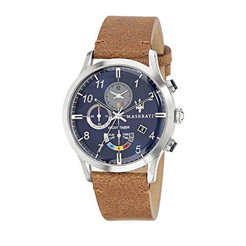 MASERATI Hommes Chronographe Quartz Montre avec Bracelet en Cuir R8871625005