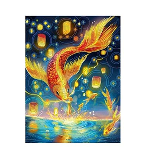 Diamond Painting Cross Stitch Gold Koi Fish Square Drill Embroidery Home Decoration Crafts 30Cmx40Cm (Stitch Fish Koi Cross)